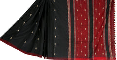 Red black cotton Chhaya saree with Muga ghicha buta