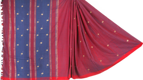 Pink purple cotton Dohi saree