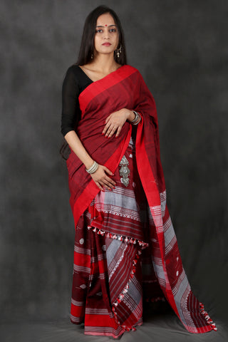 Maroon and blue cotton Chhaya saree with Muga ghicha buta
