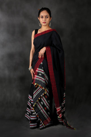 Red black cotton Chhaya saree
