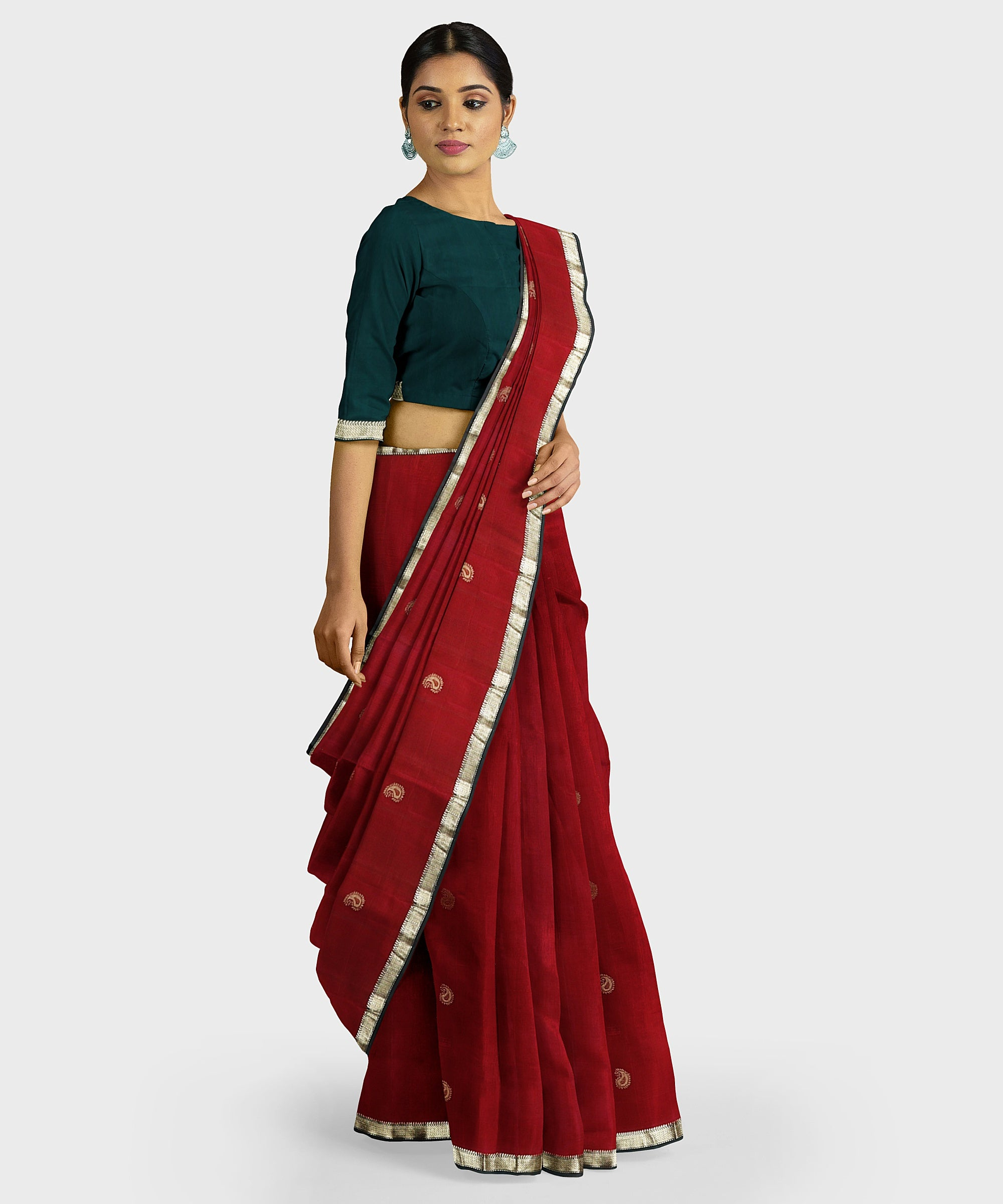Maroon and teal green Kodiyala silk handloom saree