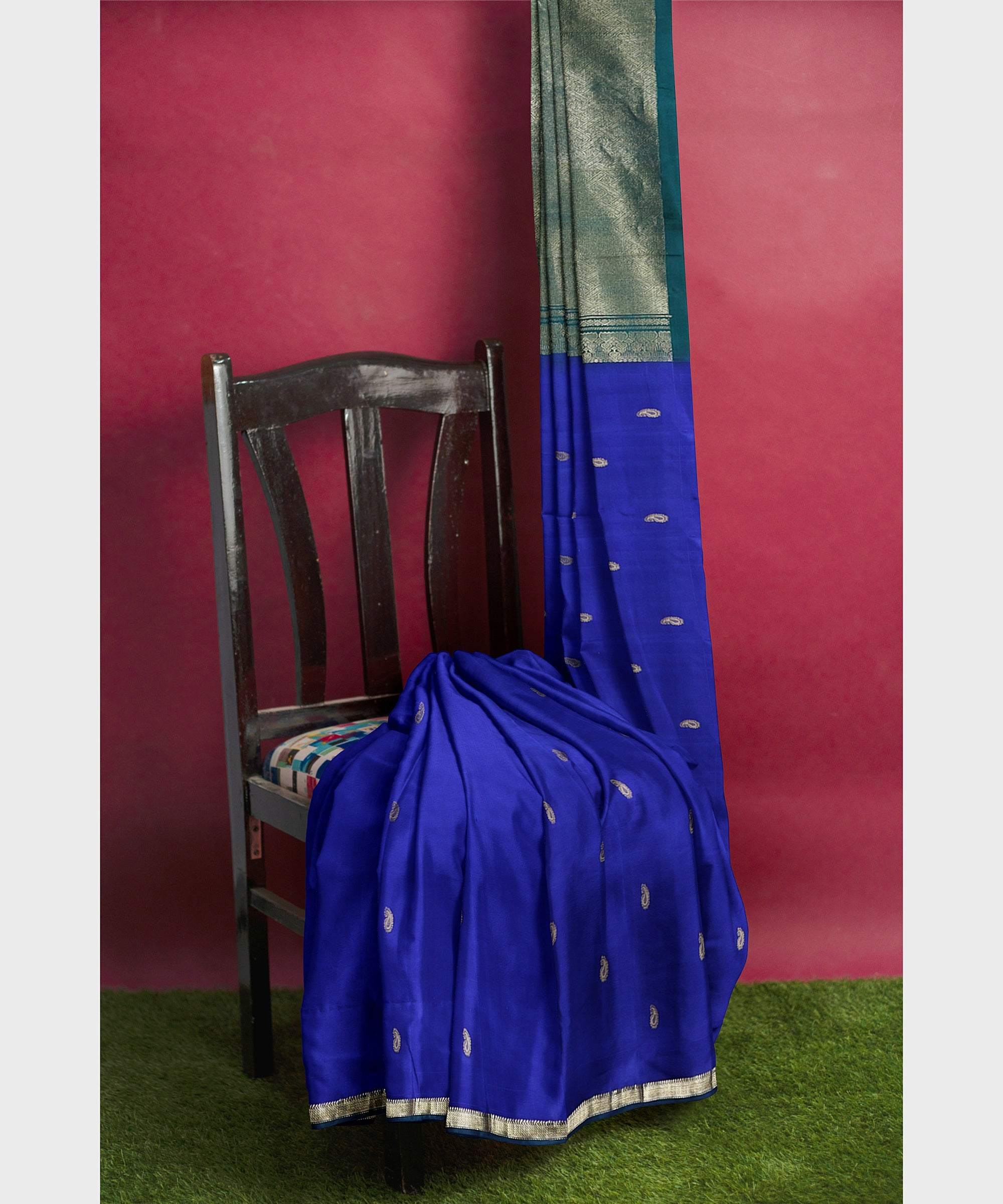 Indigo and teal Kodiyala handloom silk saree