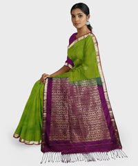 Purple and lime green Kodiyala handloom silk saree