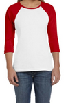 Bella + Canvas B2000 Womens Baby Rib 3/4-Sleeve Contrast Raglan T-Shirt