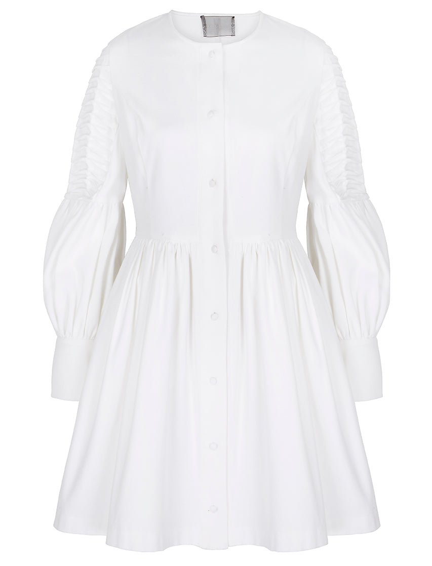 Deborah Lyons White Pleated Sleeve Blair Dress