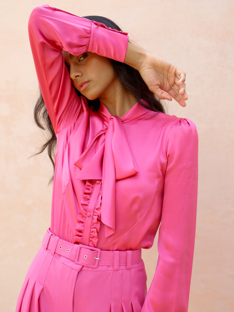 Deborah Lyons Pink Silk Harley Blouse With Tie Neck & Ruffle Detail