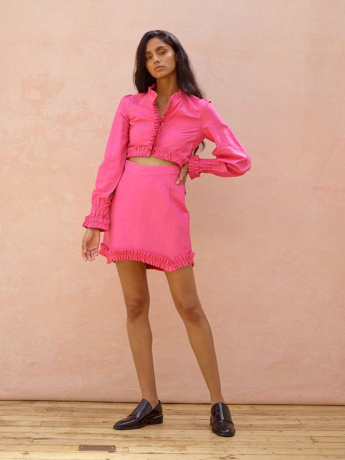 Deborah Lyons Pink Cut Out Long Sleeve Frill Mini Daisy Dress