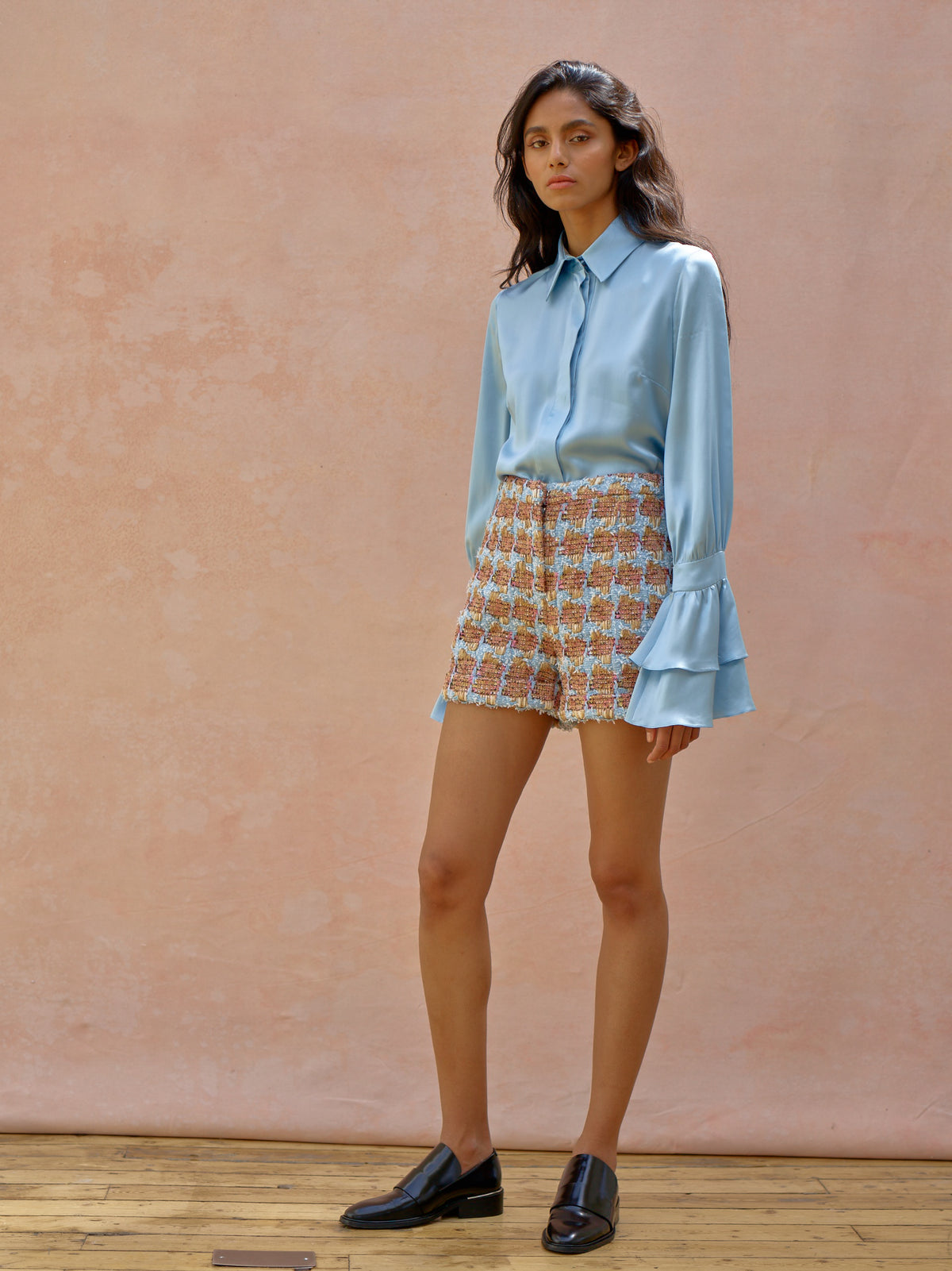 Deborah Lyons Blue SIlk Piper Blouse With Oversized Layered Cuffs & Collar