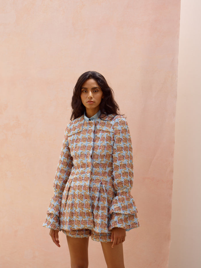 Deborah Lyons Heritage Tweed Pink & Blue Multi Colour Flared Jacket Dress