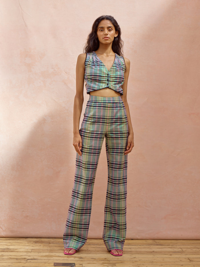 Deborah Lyons Custom Green Check High Waisted Cut Out Jumpsuit