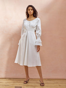 Deborah Lyons White Cotton Tempest Midi Dress