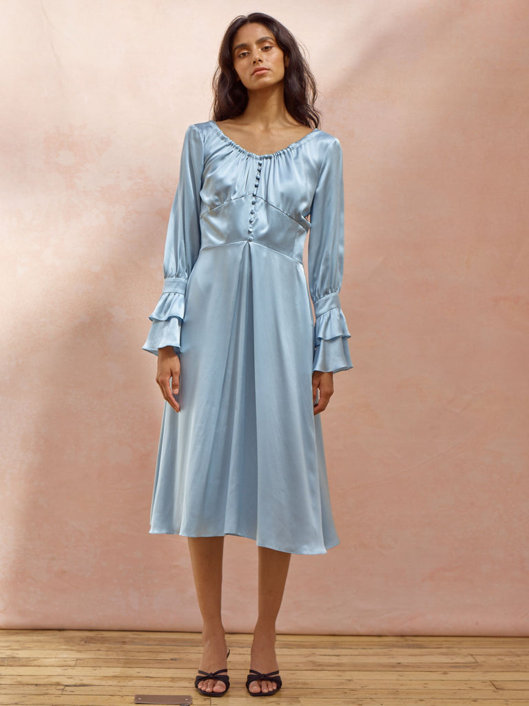 Deborah Lyons Silk Crepe Pacific Blue Tempest Midi Dress