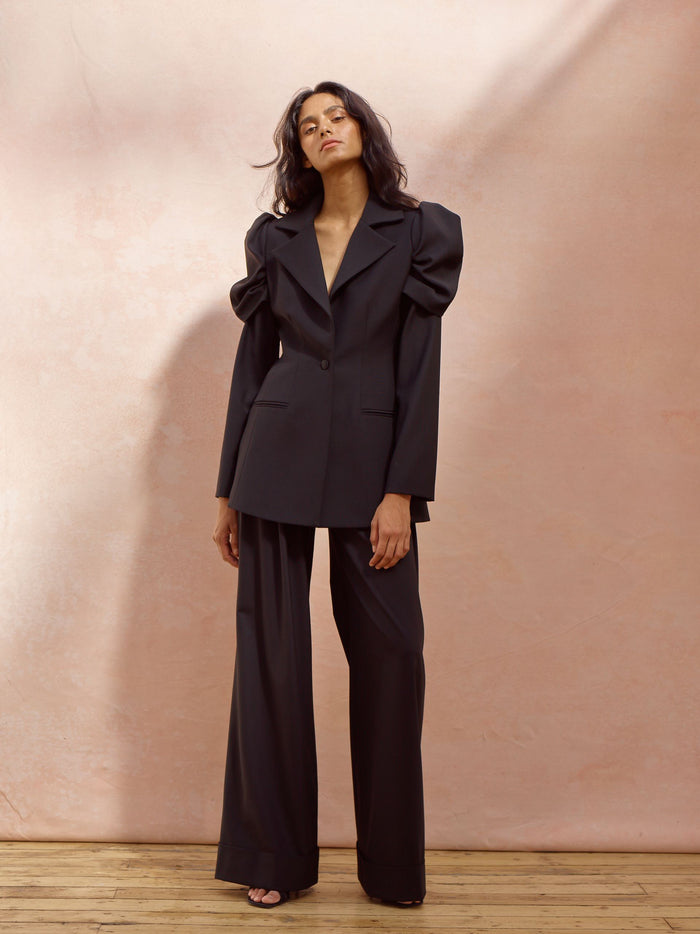 Deborah Lyons Black Wool Fitted Willow Blazer With Draped Oversized Shoulders