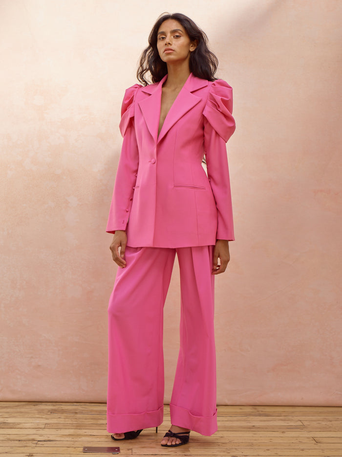 Deborah Lyons Pink Wool Fitted Puffed Sleeve Willow Blazer