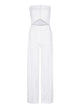 Deborah Lyons Corseted, Cut Out, Wide Leg White Alaska Jumpsuit