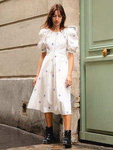 Deborah Lyons White Cotton Puff Sleeve Audley Flower Print Midi Dress