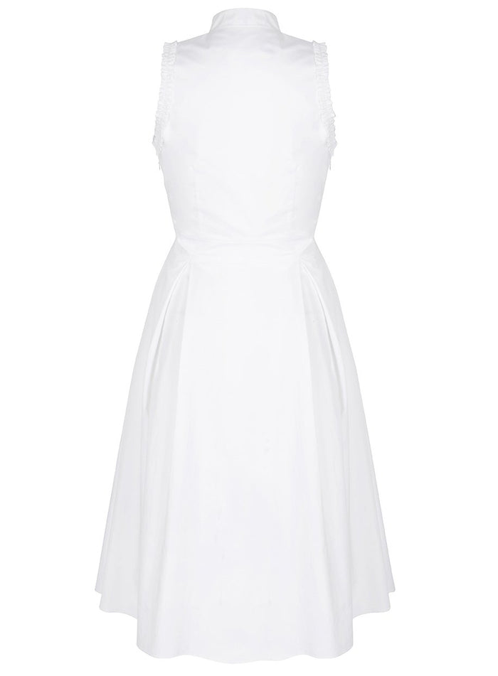 Deborah Lyons Front Tie Cut Out White Bianca Frill Detail Midi Dress