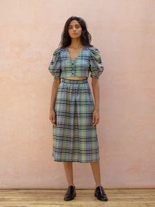 Deborah Lyons Green Check, High-Waisted Cut-Out Midi Emma Dress