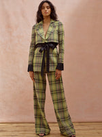 Deborah Lyons Green Check Beretta Blazer With Satin Pleated Cuffs & Tie Waistband