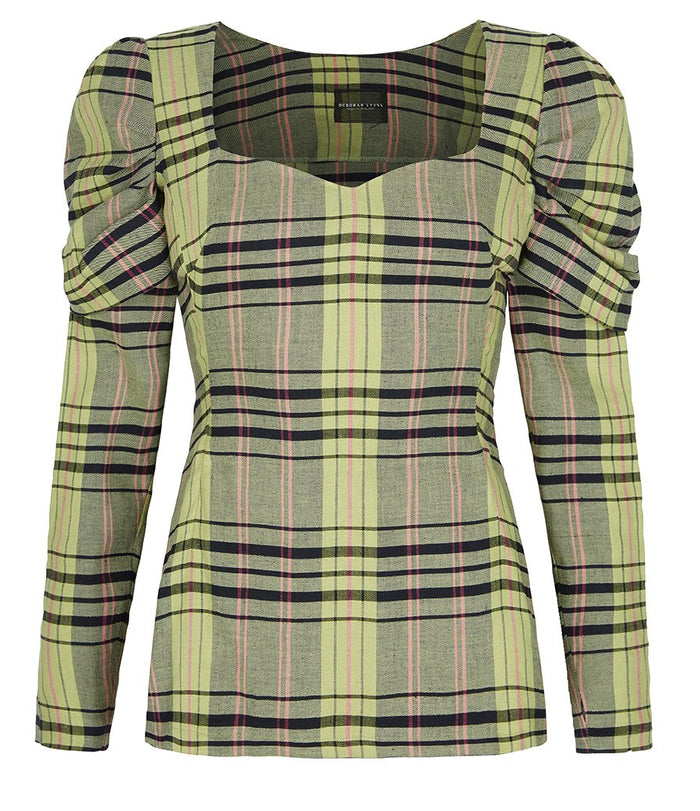 Deborah Lyons Green Check Slim Fitting Sadie Oversized Shoulder Blouse
