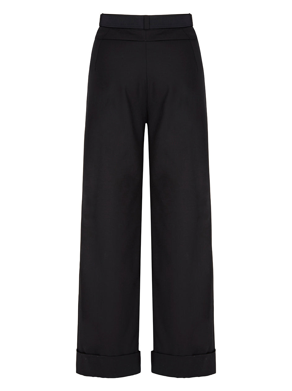 Deborah Lyons Black Saskia High Waisted, Wide leg Trouser With Pleated Front Detailing