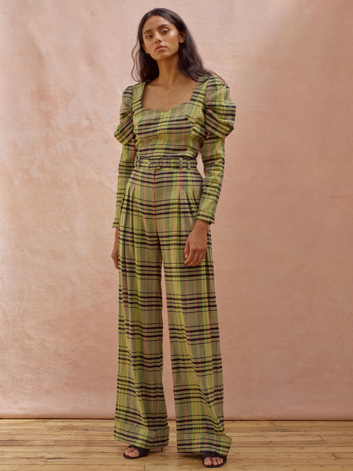 Deborah Lyons Green Checked Saskia High Waisted, Wide leg Trousers With Pleated Front