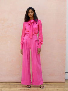 Deborah Lyons Pink Saskia High Waisted, Wide leg Trouser With Pleated Front Detailing