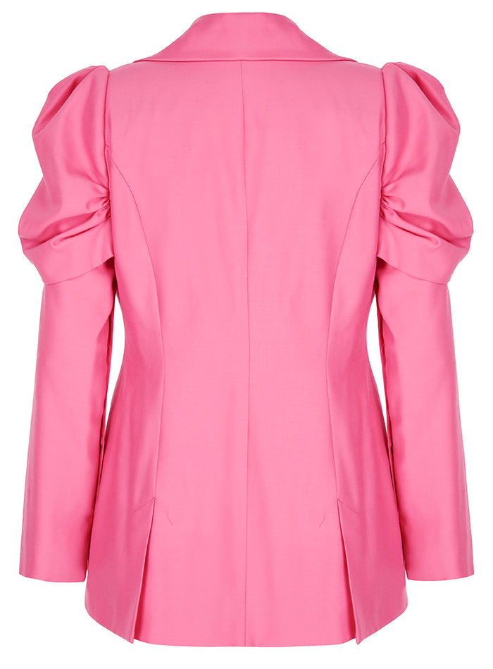 Deborah Lyons Pink Wool Fitted Puffed Sleeve Willow Blazer - Back View