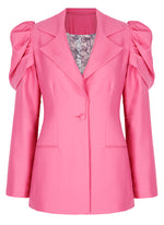 Deborah Lyons Pink Wool Fitted Puffed Sleeve Willow Blazer - Front View