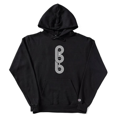 Bass & Bars Vertical Logo One Sided Champion Hoodie - Black