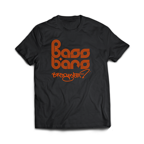 Bass & Bars Orange Stacked Logo One Sided T-Shirt - Black