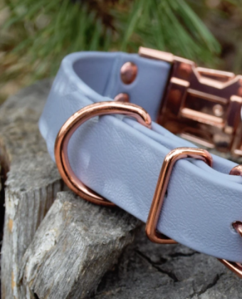 DogDog Goose Biothane Collar - Grey with Rose Gold Buckle