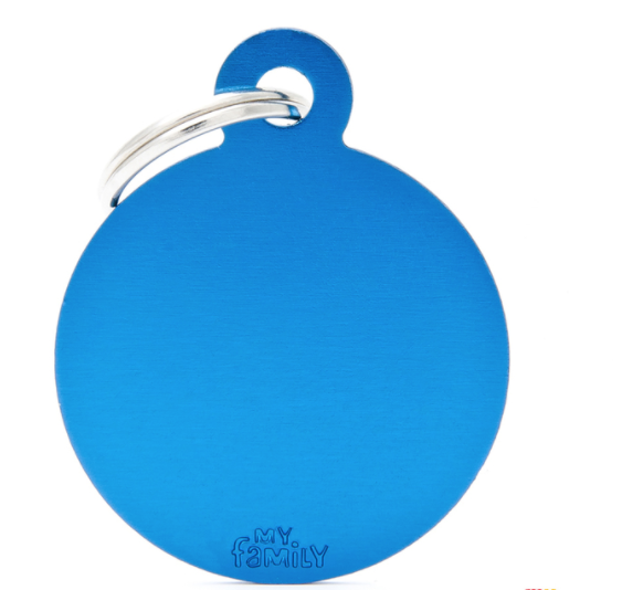 My Family Tags - Blue Aluminum Circle