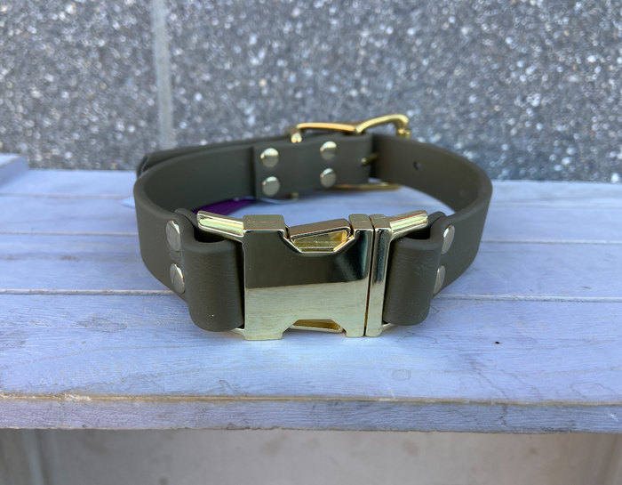 DogDog Goose Biothane Collar - Olive with Gold Buckle