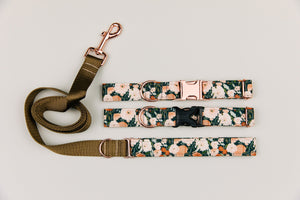 Walk in the Bark - Charcoal Autumn Floral Water Resistant Dog Collar/Waste Bag/Leash