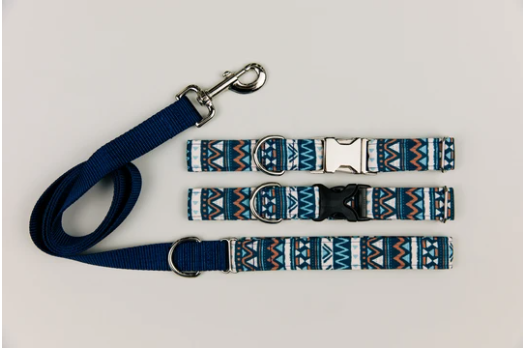 Walk in the Bark - Navy Blue Aztec Water Resistant Dog Collar
