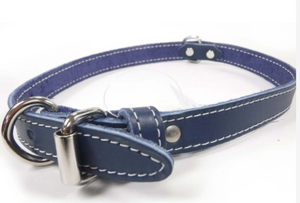Lacet - Single Leather Collar - Blue