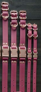 DogDog Goose Biothane Collar - Burgundy with Rose Gold Buckle
