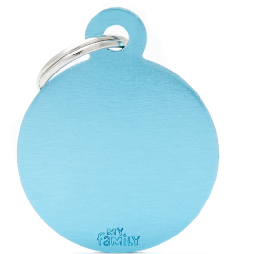 My Family Tags - Light Blue Aluminum Circle