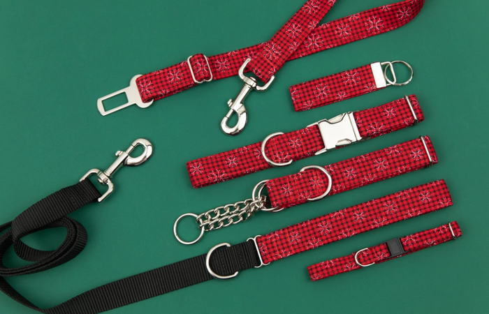 Walk in the Bark - Buffalo Plaid Snowflake Dog Collar/Waste Bag/Leash