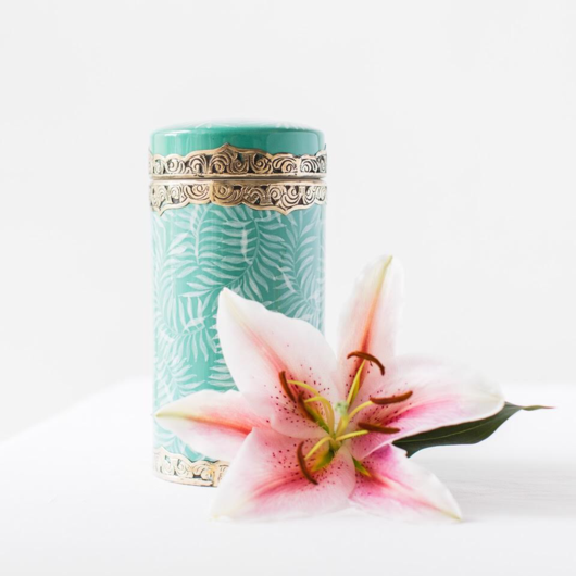 Faintly Fern Canister Dark Turquoise/White by Bowerbird