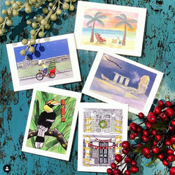 Pack of 10 Singapore Themed Christmas Cards, by Art by Sizzle