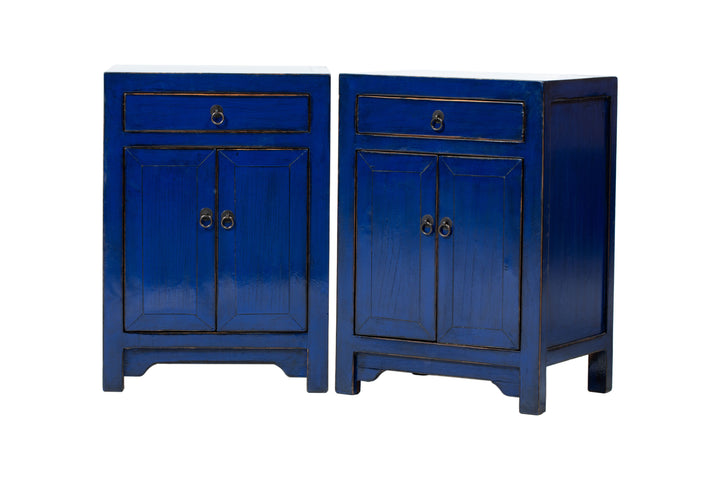 Pair of Dark Blue Small 1 Drawer 2 Door Bedside Cabinets. New, Made From Reclaimed Wood. Pine