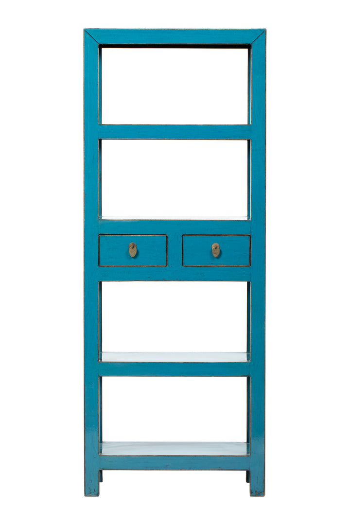COMING SOON - Sky Blue Bookshelves with 2 Drawers, Pine. New