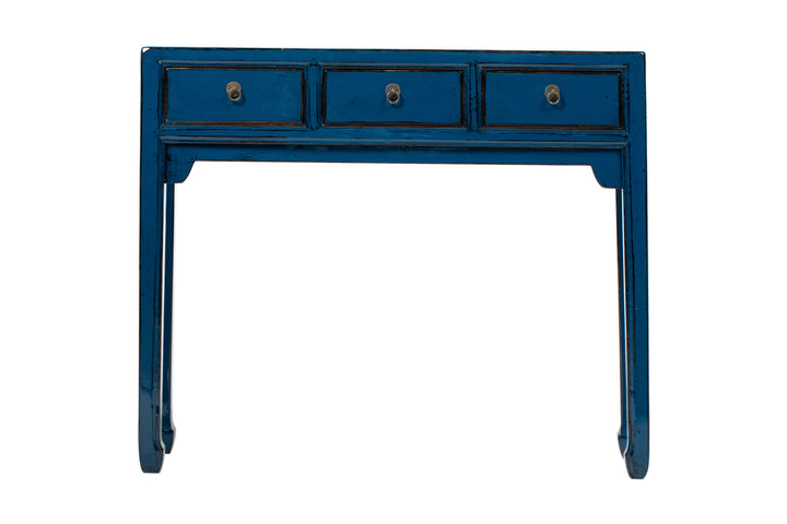 Dark Blue 3 Drawer Narrow Console, Elm. New