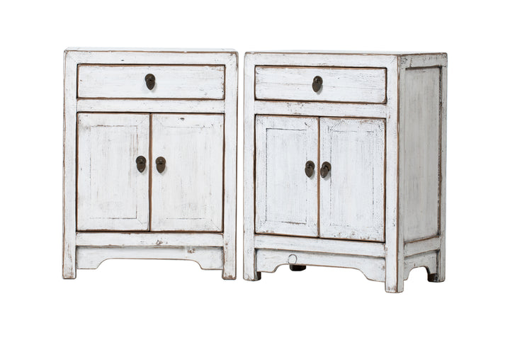 Pair of White 1 Drawer 2 Door Bedside Cabinets. New, Made From Reclaimed Wood. Poplar