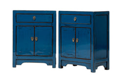 Pair of Dark Blue 1 Drawer 2 Door Bedside Cabinets. New, Made From Reclaimed Wood. Poplar