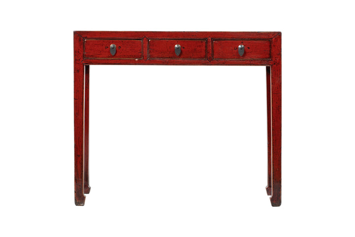Vintage Red Shandong 3 Drawer Narrow Desk, Circa 80 Y/O