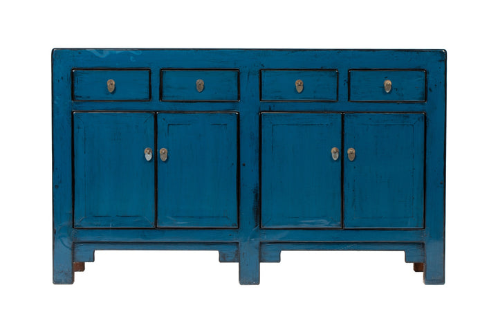 Blue 4 Door 4 Drawer Sideboard. New, Made From Reclaimed Wood. Elm