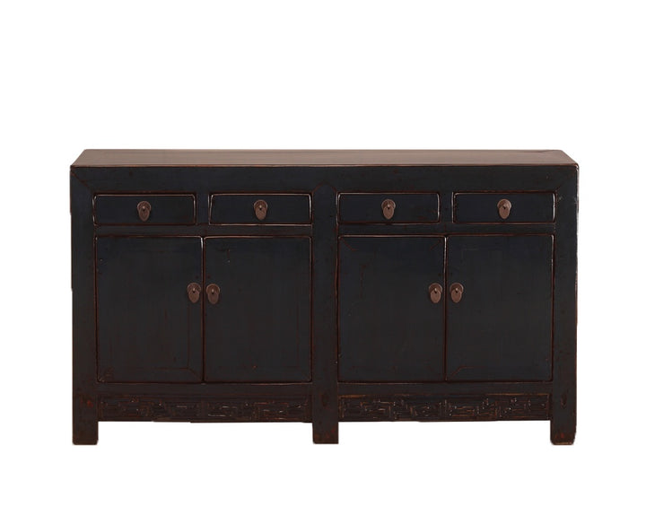 Antique Midnight Blue Shanxi Cabinet with 4 Doors & 4 Drawers, Pine. Circa 1920